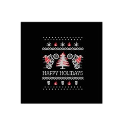 Motorcycle Santa Happy Holidays Ugly Christmas Black Background Satin Bandana Scarf