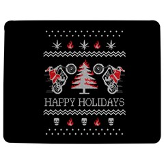 Motorcycle Santa Happy Holidays Ugly Christmas Black Background Jigsaw Puzzle Photo Stand (Rectangular)