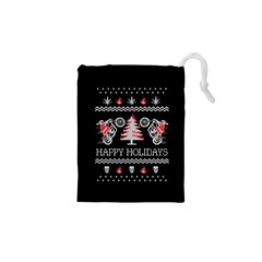 Motorcycle Santa Happy Holidays Ugly Christmas Black Background Drawstring Pouches (XS)