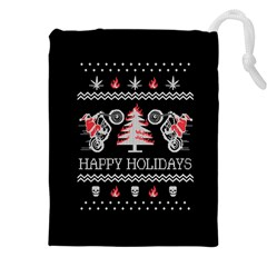 Motorcycle Santa Happy Holidays Ugly Christmas Black Background Drawstring Pouches (XXL)