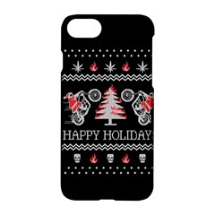 Motorcycle Santa Happy Holidays Ugly Christmas Black Background Apple iPhone 7 Hardshell Case