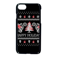 Motorcycle Santa Happy Holidays Ugly Christmas Black Background Apple iPhone 7 Seamless Case (Black)