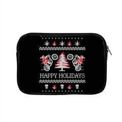 Motorcycle Santa Happy Holidays Ugly Christmas Black Background Apple MacBook Pro 15  Zipper Case