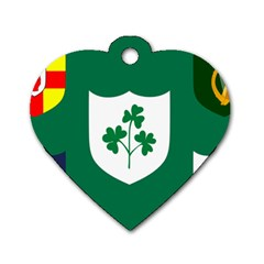 Ireland National Rugby Union Flag Dog Tag Heart (One Side)