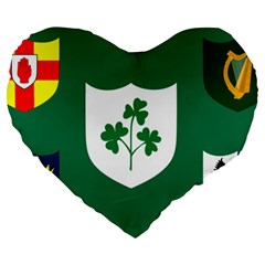 Ireland National Rugby Union Flag Large 19  Premium Heart Shape Cushions