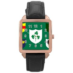Ireland National Rugby Union Flag Rose Gold Leather Watch