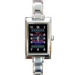 My Grandma Made This Ugly Holiday Black Background Rectangle Italian Charm Watch