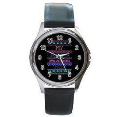 My Grandma Made This Ugly Holiday Black Background Round Metal Watch