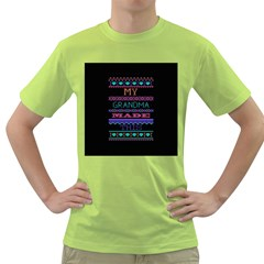 My Grandma Made This Ugly Holiday Black Background Green T-Shirt