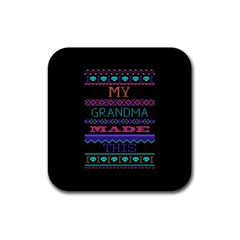 My Grandma Made This Ugly Holiday Black Background Rubber Square Coaster (4 pack)