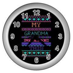 My Grandma Made This Ugly Holiday Black Background Wall Clocks (Silver)