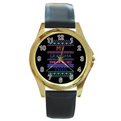 My Grandma Made This Ugly Holiday Black Background Round Gold Metal Watch