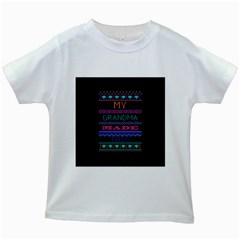 My Grandma Made This Ugly Holiday Black Background Kids White T-Shirts