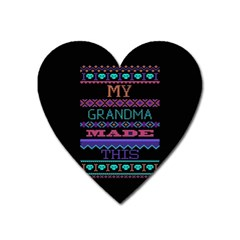 My Grandma Made This Ugly Holiday Black Background Heart Magnet