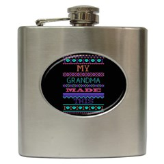 My Grandma Made This Ugly Holiday Black Background Hip Flask (6 oz)