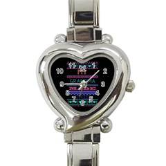 My Grandma Made This Ugly Holiday Black Background Heart Italian Charm Watch