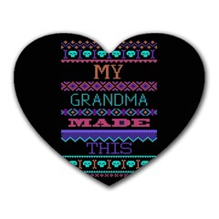 My Grandma Made This Ugly Holiday Black Background Heart Mousepads