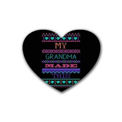 My Grandma Made This Ugly Holiday Black Background Heart Coaster (4 pack)