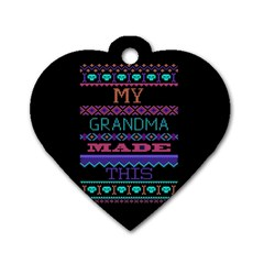 My Grandma Made This Ugly Holiday Black Background Dog Tag Heart (One Side)