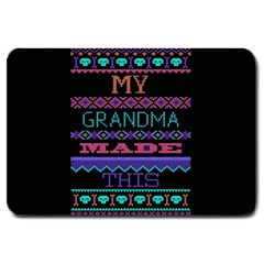 My Grandma Made This Ugly Holiday Black Background Large Doormat