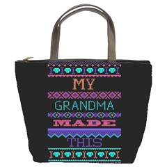 My Grandma Made This Ugly Holiday Black Background Bucket Bags
