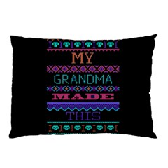 My Grandma Made This Ugly Holiday Black Background Pillow Case (Two Sides)