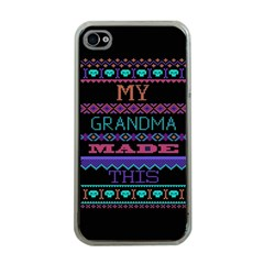 My Grandma Made This Ugly Holiday Black Background Apple iPhone 4 Case (Clear)