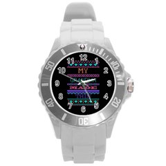 My Grandma Made This Ugly Holiday Black Background Round Plastic Sport Watch (L)