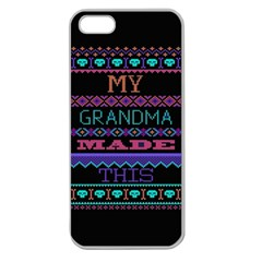 My Grandma Made This Ugly Holiday Black Background Apple Seamless iPhone 5 Case (Clear)