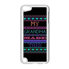 My Grandma Made This Ugly Holiday Black Background Apple iPod Touch 5 Case (White)