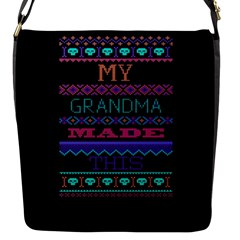My Grandma Made This Ugly Holiday Black Background Flap Messenger Bag (S)