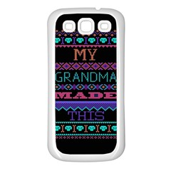 My Grandma Made This Ugly Holiday Black Background Samsung Galaxy S3 Back Case (White)