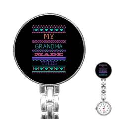 My Grandma Made This Ugly Holiday Black Background Stainless Steel Nurses Watch