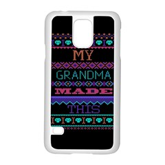 My Grandma Made This Ugly Holiday Black Background Samsung Galaxy S5 Case (White)