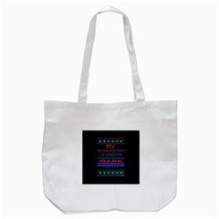 My Grandma Made This Ugly Holiday Black Background Tote Bag (White)