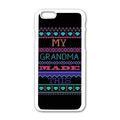 My Grandma Made This Ugly Holiday Black Background Apple iPhone 6/6S White Enamel Case