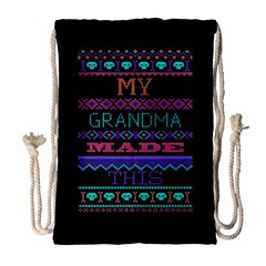 My Grandma Made This Ugly Holiday Black Background Drawstring Bag (Large)