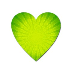 Radial Green Crystals Crystallize Heart Magnet