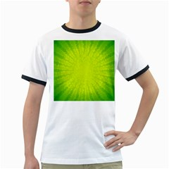 Radial Green Crystals Crystallize Ringer T-Shirts