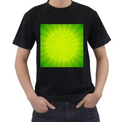 Radial Green Crystals Crystallize Men s T-Shirt (Black) (Two Sided)