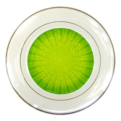 Radial Green Crystals Crystallize Porcelain Plates