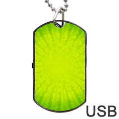 Radial Green Crystals Crystallize Dog Tag USB Flash (Two Sides)