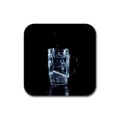 Glass Water Liquid Background Rubber Square Coaster (4 pack)