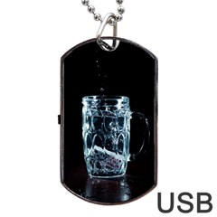 Glass Water Liquid Background Dog Tag USB Flash (Two Sides)
