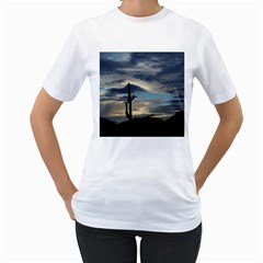 Cactus Sunset Women s T-Shirt (White) (Two Sided)