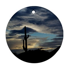 Cactus Sunset Round Ornament (Two Sides)
