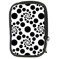 Dot Dots Round Black And White Compact Camera Cases