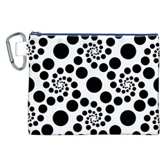 Dot Dots Round Black And White Canvas Cosmetic Bag (XXL)
