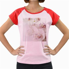 Orchids Flowers White Background Women s Cap Sleeve T-Shirt