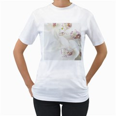 Orchids Flowers White Background Women s T-Shirt (White) (Two Sided)